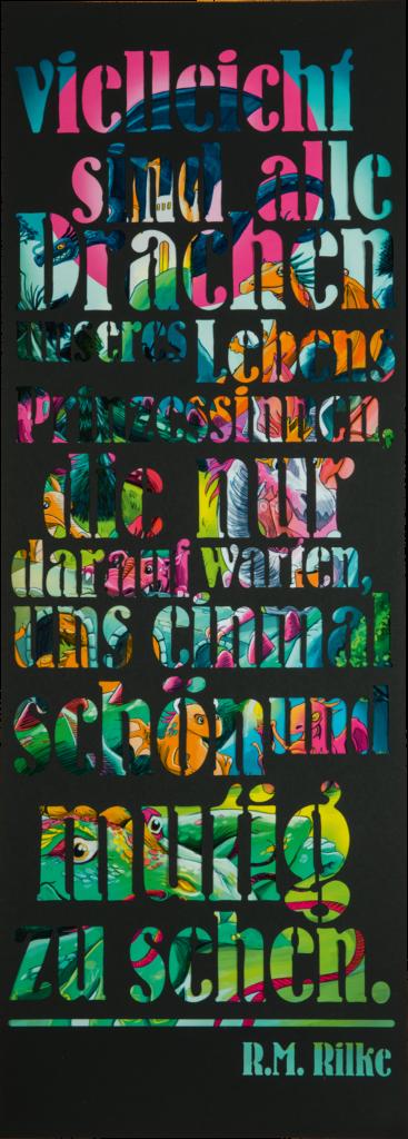 """Das Bild zeigt das ARTLIT-Rilke-Poster """"Von Drachen und Prinzessinnen"""""""