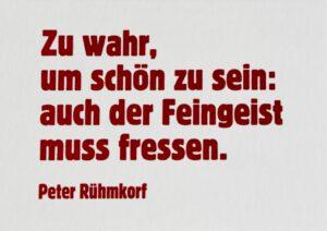 Das Bild zeigt die ARTLIT-Benefizpostkarte mit einem Zitat von Peter Rühmkorf.