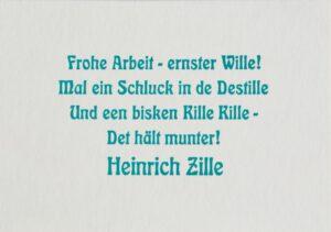 ARTLIT-Benefizpostkarte mit einem Zitat von Heinrich Zille.